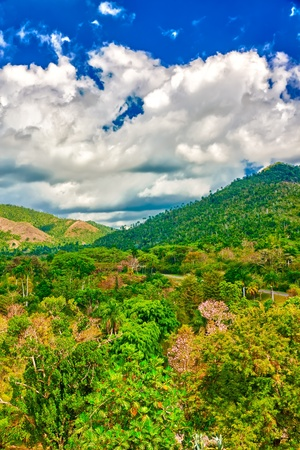 soroa: The mountains of Pinar del Rio in Cuba, a natural touristic attraction and a worlwide known tobacco growing area