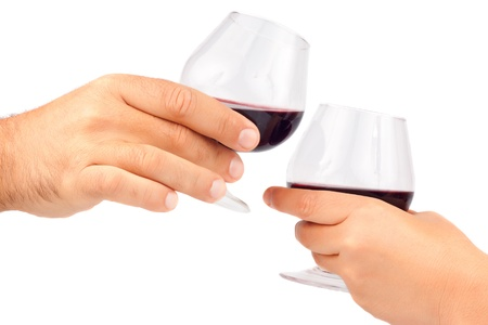 Man and woman hands making a tost with wine glasses Stock Photo - 13323314