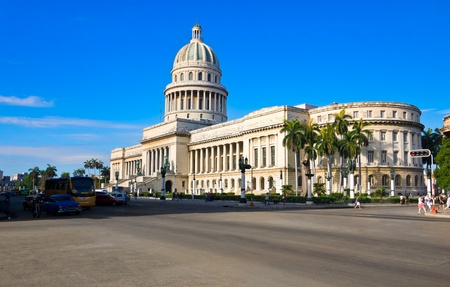 adjacent: The Capitol building in Havana and its adjacent streets