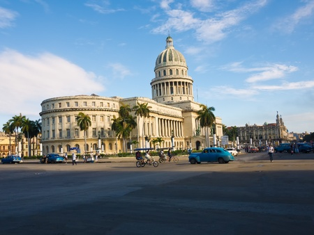 adjacent: The Capitol building in Havana and its adjacent streets including the Great Theater in the background Editorial