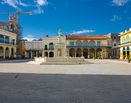 The Old Square, in spanish known as Plaza Vieja, a touristic landmark famous for its colonial architecture in Old Havana Stock Photo - 13537906