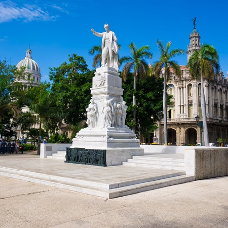 central park: The Central Park of Havana with the Jose Marti Monument and the Capitol on the background
