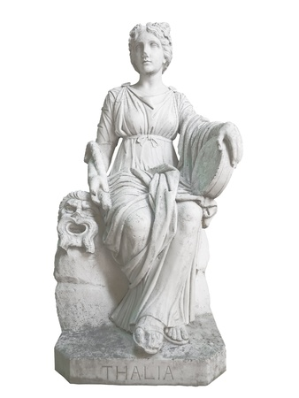 Ancient statue of Thalia, the geek muse of poetry and theater, isolated on a white background photo