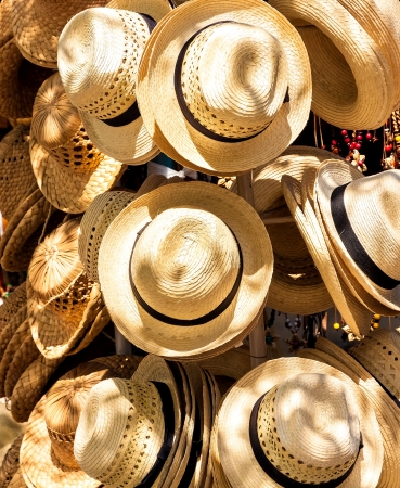 varadero: Handmade hats for sale on a touristic street market in the beach of Varadero in Cuba