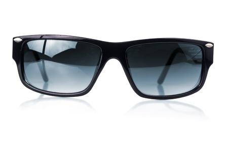 blind man: Modern dark sunglasses with a black frame  on a white background with reflections