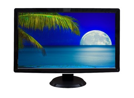 TV or computer monitor showing an image of a beautiful tropical beach at night with a glowing full moon   isolated on white  photo