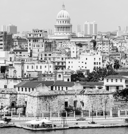 The city of Havana including several iconic buildings in black and white photo