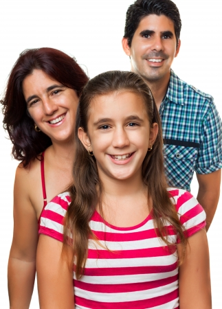 multiracial children: Portrait of a happy hispanic family consisting of father,mother and daughter isolated on a white background