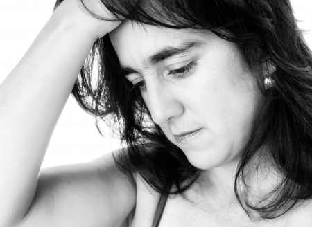 Black and white portrait of a sad hispanic woman photo