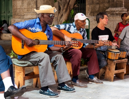 afro caribbean: Traditional music group playing for tourists in Havana