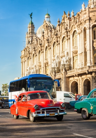 Old cars near the Great Theater of Havana