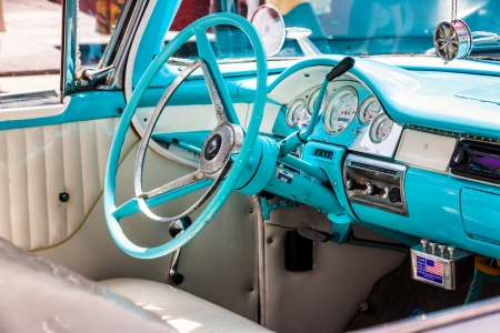 Interior of a classic american car in Havana