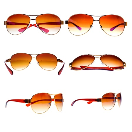High resolution collection of metal framed vintage aviator sunglasses isolated on white photo