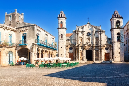 The Cathedral of Havana and the famous nearby square on a beautiful day Editorial