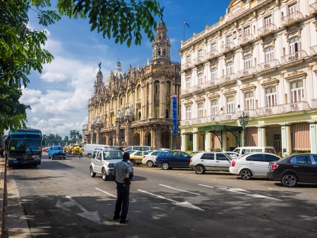capitolio: People and traffic near the Central Park in Havana