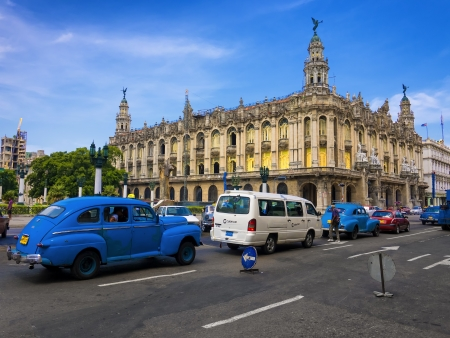 Traffic near the Great Theater  in Havana
