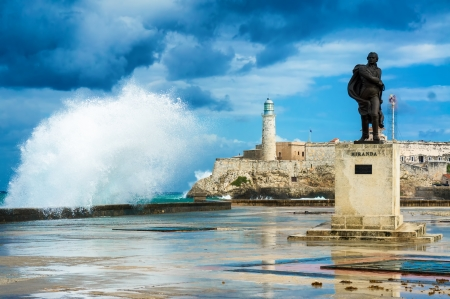 The famous castle of El Morro in the bay of Havana with big waves crashing against the wall during a hurricane