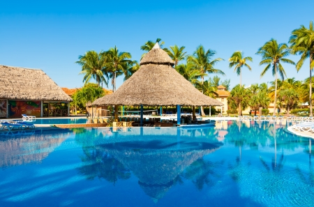 tourist resort: Beautiful outdoors pool and bar at a hotel in Varadero, Cuba