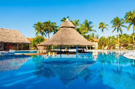Beautiful outdoors pool and bar at a hotel in Varadero, Cuba