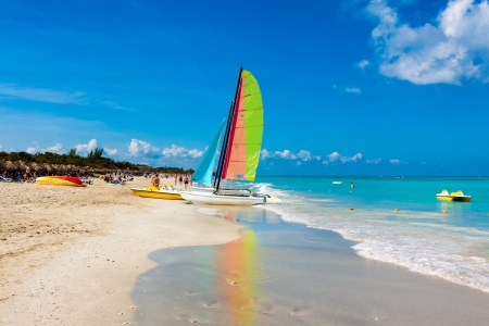 The famous beach of Varadero in Cuba on a beautiful summer day photo