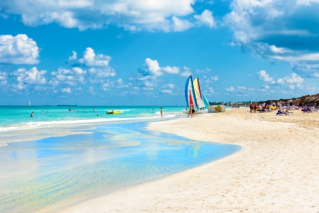 varadero: The famous beach of Varadero in Cuba  with a calm turquoise ocean
