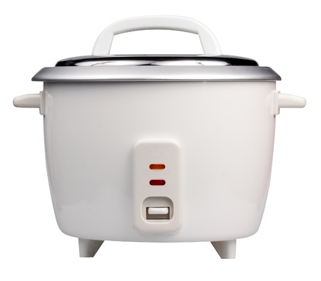 Electric rice cooker isolated on a white background photo