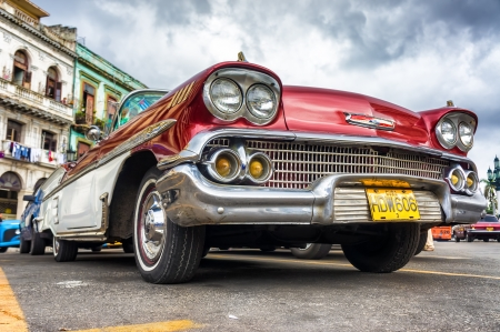 Low angle view of an old Chevrolet  in Havana Thousands of these cars are still in use in Cuba and they have become an iconic view and a worldwide known attraction