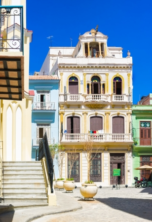 Typical colorful buildings in Old Havana on a beautiful day with a clear blue sky Stock Photo - 18268132