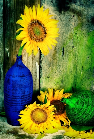 Beautiful vintage image of sunflowers and pottery vases with a grunge wooden planks background Stock Photo - 18391579