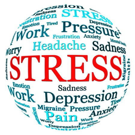 Stress related text arrangement  word cloud  with spherical form and the word STRESS in red uppercase isolated on white photo