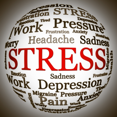 Stress related text arrangement  word cloud  with spherical form and the word STRESS in red uppercase  all other words are in black  photo
