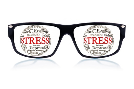 emotional pain: Black eyeglasses with spheres made of words related to stress and depression in place of the eyes