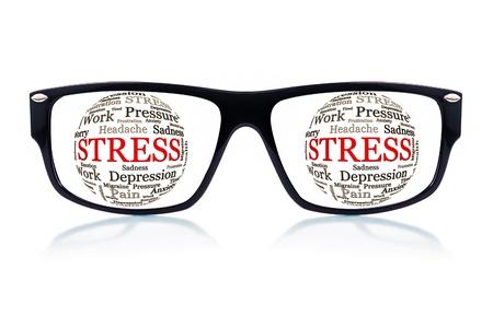 male headache: Gafas negras con esferas hechas de palabras relacionadas con el estr�s y la depresi�n en el lugar de los ojos