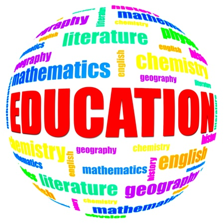 scientific literature: Education and science related text arrangement (word cloud) with spherical form and the word EDUCATION in red uppercase