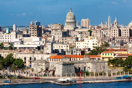 View of Havana featuring several well known landmarks on a beautiful summer day Фото со стока