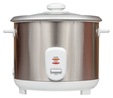 cookers: Electric rice cooker isolated on a white background with clipping path