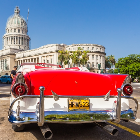 Classic well restored vintage Ford near the Capitol on June 21, 2013 in Havana Stock Photo - 20449619