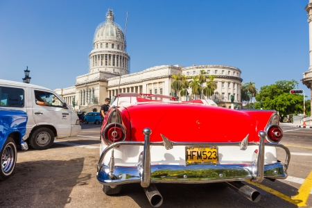 Classic well restored vintage Ford near the Capitol on June 21, 2013 in Havana Stock Photo - 20449260