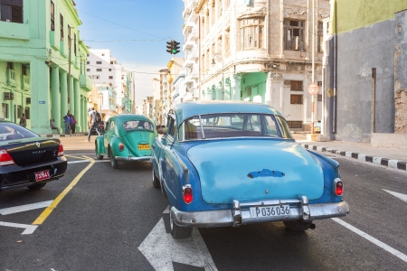 Classic vintage car June 28,2013 in Havana Thousands of these cars are still in use in Cuba and they have become an iconic view and a worldwide known attraction Stock Photo - 20910039