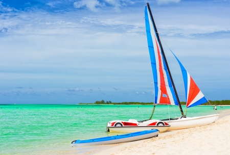 Catamaran at a resort in Cayo Coco  Coco key , a beautiful tourist destination in Cuba Stock Photo