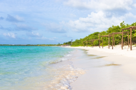 coco: Beautiful beach at Coco Key  Cayo Coco  in Cuba, a natural landmark of the island Stock Photo