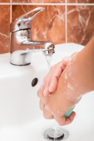 Washing hands with soap.Cleaning Hands.Hygiene Stock Photo - 23339614