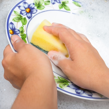 soapy water: Hands washing the dishes on soapy water