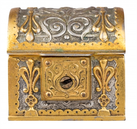 Ancient golden treasure chest isolated on a white background with clipping path photo