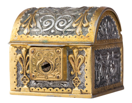 Ancient golden treasure chest