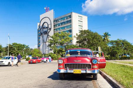 Classic Chevrolet in the Revolution Square in Havana Editorial