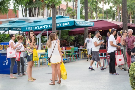 Tourists enjoying the warm weather at Lincoln Road in Miami Beach This boulevard features over 200 designer boutiques,national retail stores and fine restaurants and bars