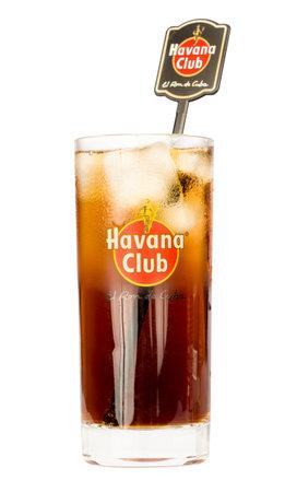 highball: Havana Club highball glass containing a Cuba Libre