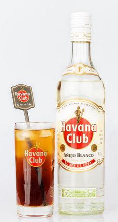 Havana Club rum bottle and a glass containing a Cuba Libre