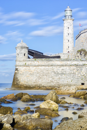 The lighthouse and fortress of El Morro in Havana  long exposure with silky water  photo